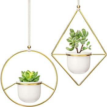 Hanging white metal pot 04