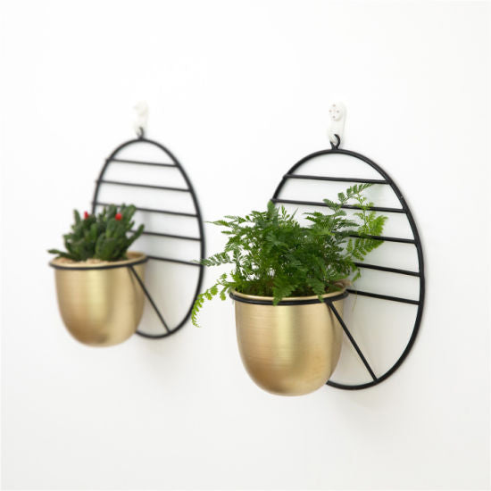 Golden hanging metal planters 08