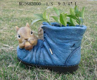 Squirrel on Shoe Planter