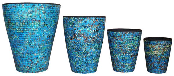 MOST225 - Mosaic Terracotta Pot - Blue