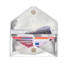 Silver Envelope purse with detachable strap