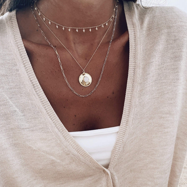 heylove COLLARES FULL MOON MOONSTONE - PLATA