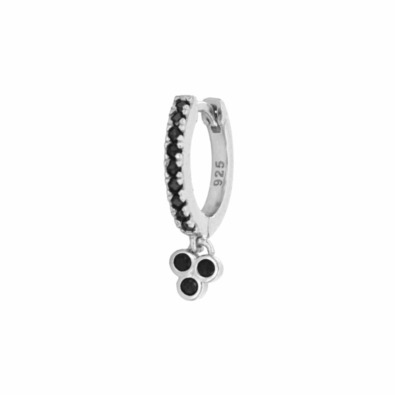 heylove PENDIENTES MINI HOOPS DROP CLOVER BLACK - PLATA