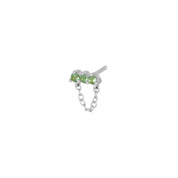 heylove PENDIENTES MINI LINE CHAIN - LIGHT GREEN - PLATA