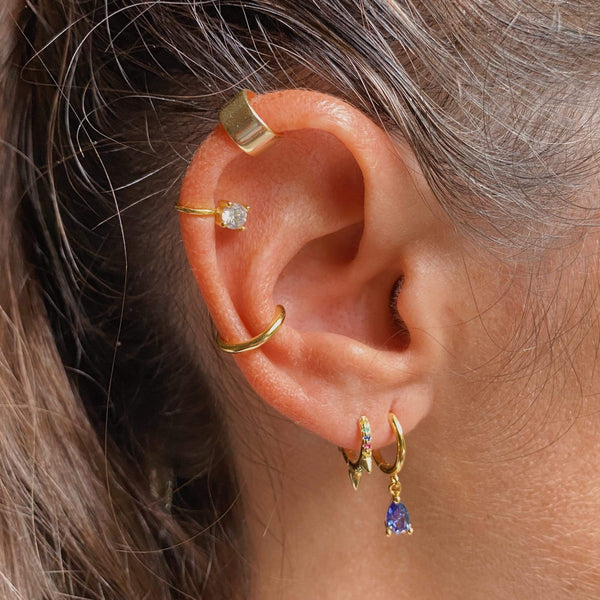 heylove PENDIENTES MINI PEAK TRIPLE HOOPS MULTICOLOR - ORO