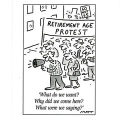 Retirement Age Protest (greeting card)