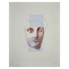 Artist's Proof: Alison Watt - Untitled, 1997. a minimalist image of a line drawing of a face from a sculpture on a plain white background, overlaid by 2 transparent purple squares.