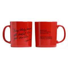 "Red Mug, exclusive to the Freud Museum, ""Being totally honest with oneself is a good exercise."""