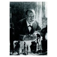 Postcard, etching of Freud, Max Pollak