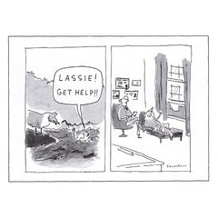 "New Yorker greeting card: ""Lassie! Get Help!!"""