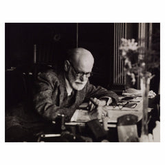 Print, Freud writing at his desk