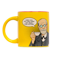 Yellow Freudian Sips Mug: When you say one thing but mean your mother