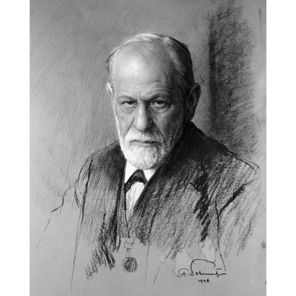 Portrait of Sigmund Freud by Ferdinand Schmutzer in black and white (print)
