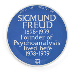 Sigmund Freud Blue Plaque China Dinner Plate by The Product of Your Environment and English Heritage