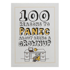 """100 Reasons to Panic About Being A Grownup"". Illustrated miniature book about the perils of adulthood."