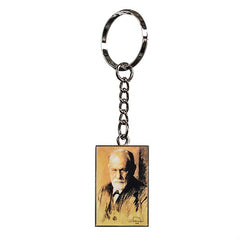 Silver keyring with a charcoal portrait of Freud