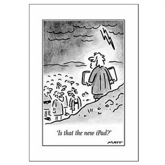 """Is that the new iPad?"" Moses greeting card Matt Pritchett, cartoon from The Telegraph"