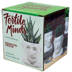 Box for Fertile Minds's Sigmund Freud sculpture as a Ceramic Planter for a mini cactus (not sold with cactus) - by the unemployed philosopher's guild