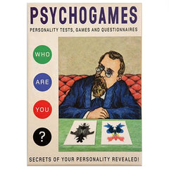 "Psychogames by Redstone Press, the cover of the game box showing a man who looks like a psychologist, looking at some rorschach tests and the words next to him read ""who are you?"""