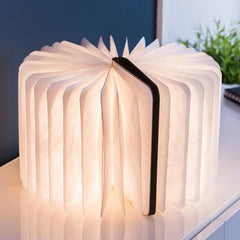 sculptural light emitting a wonderful ambient warm white soft LED light through the pages