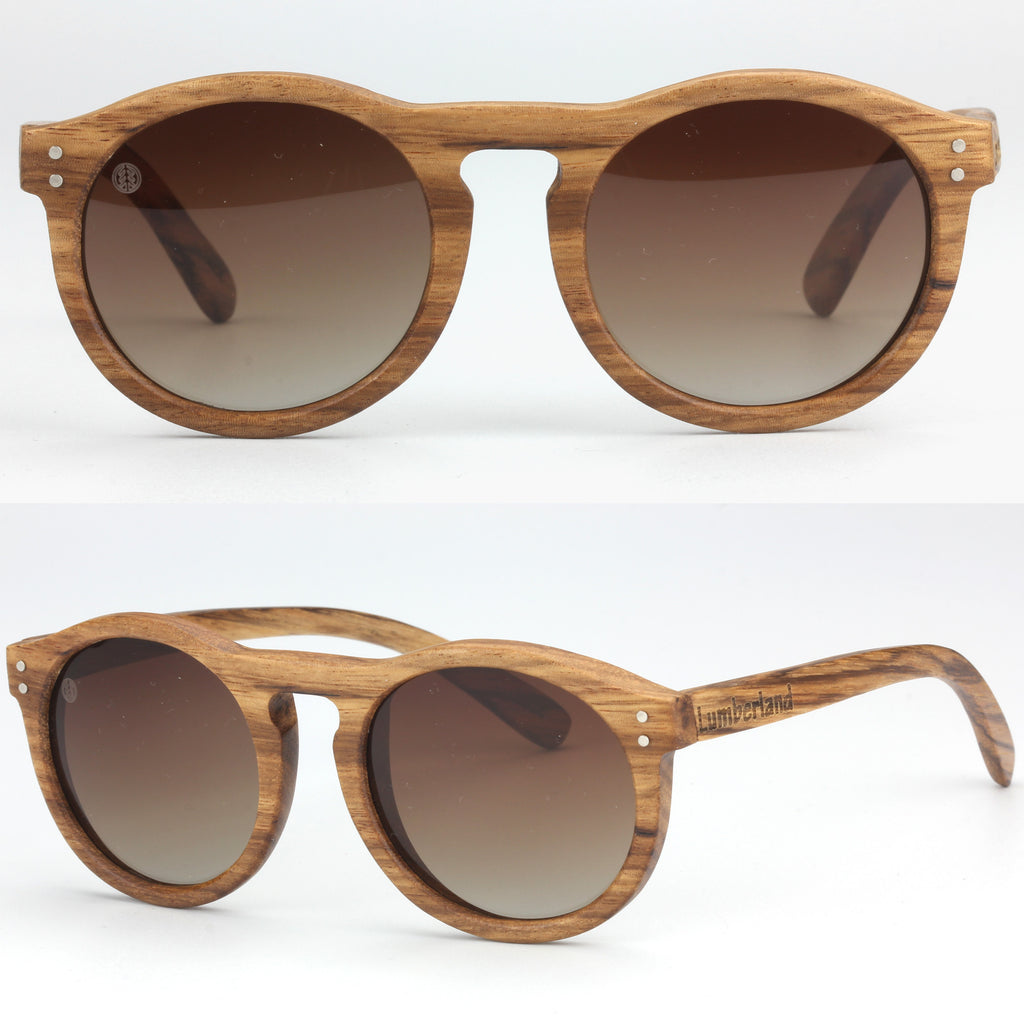 3872ff1f90 Retro Round Lens Keyhole Bridge Polarized Lens Bamboo Wood Sunglasses Zebra  brown ...
