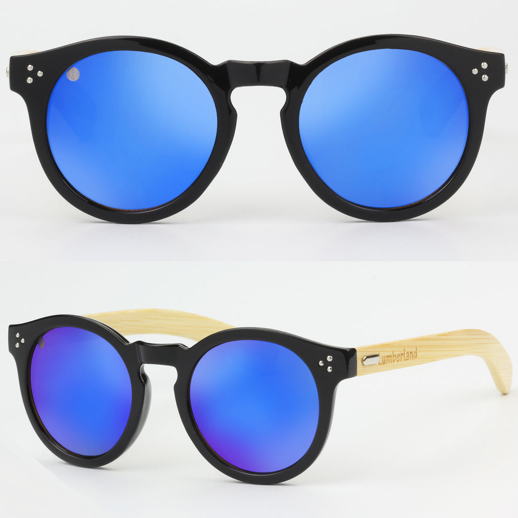 b3e8b8a9188 Retro Round Lens Keyhole Bridge Bamboo Wood Temple Sunglasses Blue mirror