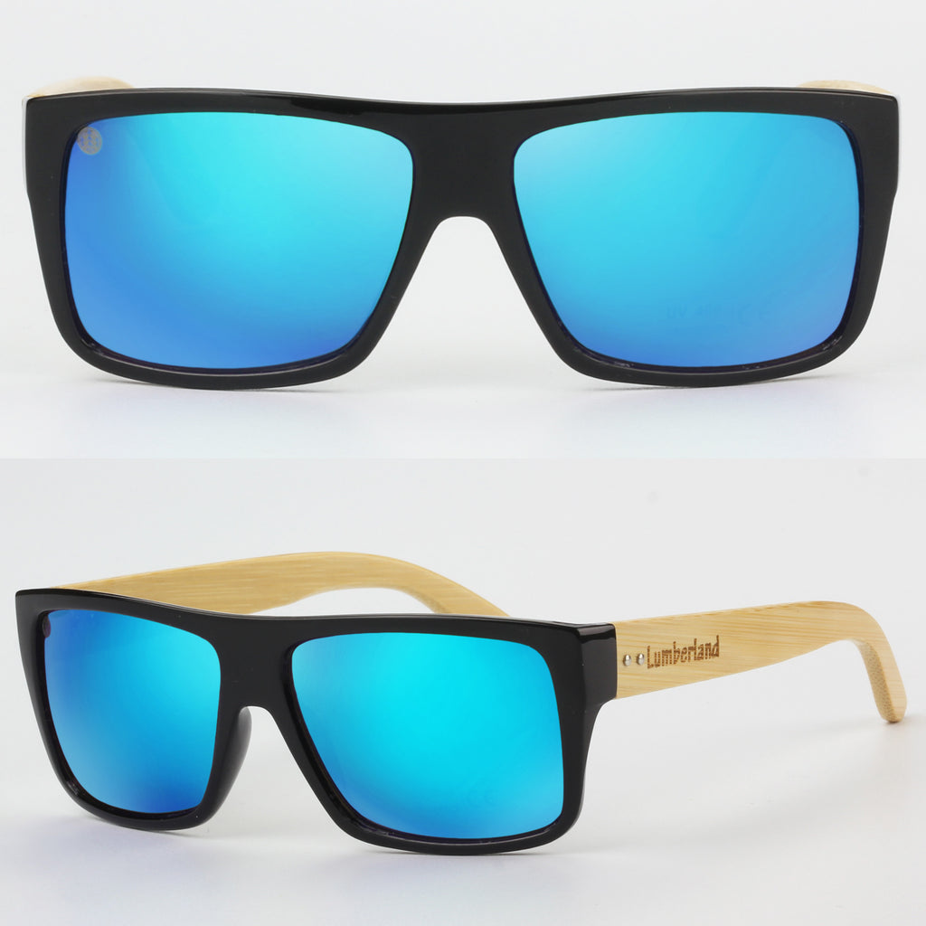 8bcf589a9b028 Large Size Flat Top Wood Temples Square Frame Sunglasses Blue mirror ...