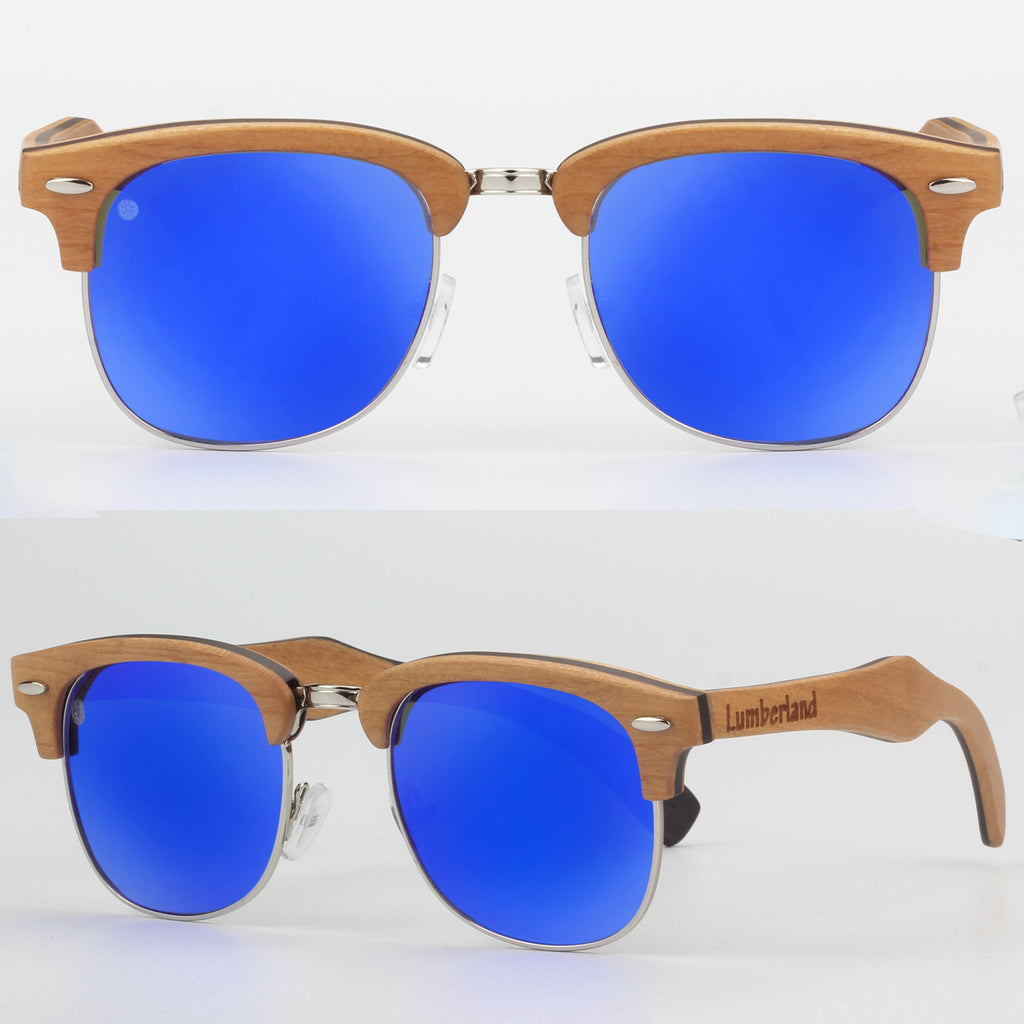 Skateboard Frame Classic Clubmaster Wood Frame Polarized Sunglasses ...