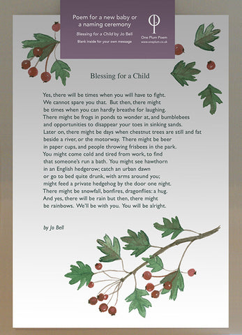 ONE PLUM POEM CARD: BLESSING FOR A CHILD