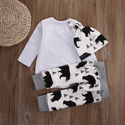 Baby Bear Long Sleeve, Pant & Hat Trio