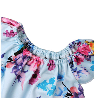 Baby Girl Spring & Summer Romper - Pale Blue Rose Print with Pink Detail