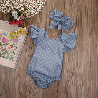 Grace Butterfly Sleeve Romper With Headband Wrap