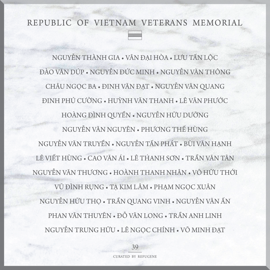 REPUBLIC OF VIETNAM VETERANS MEMORIAL :: PANEL 39