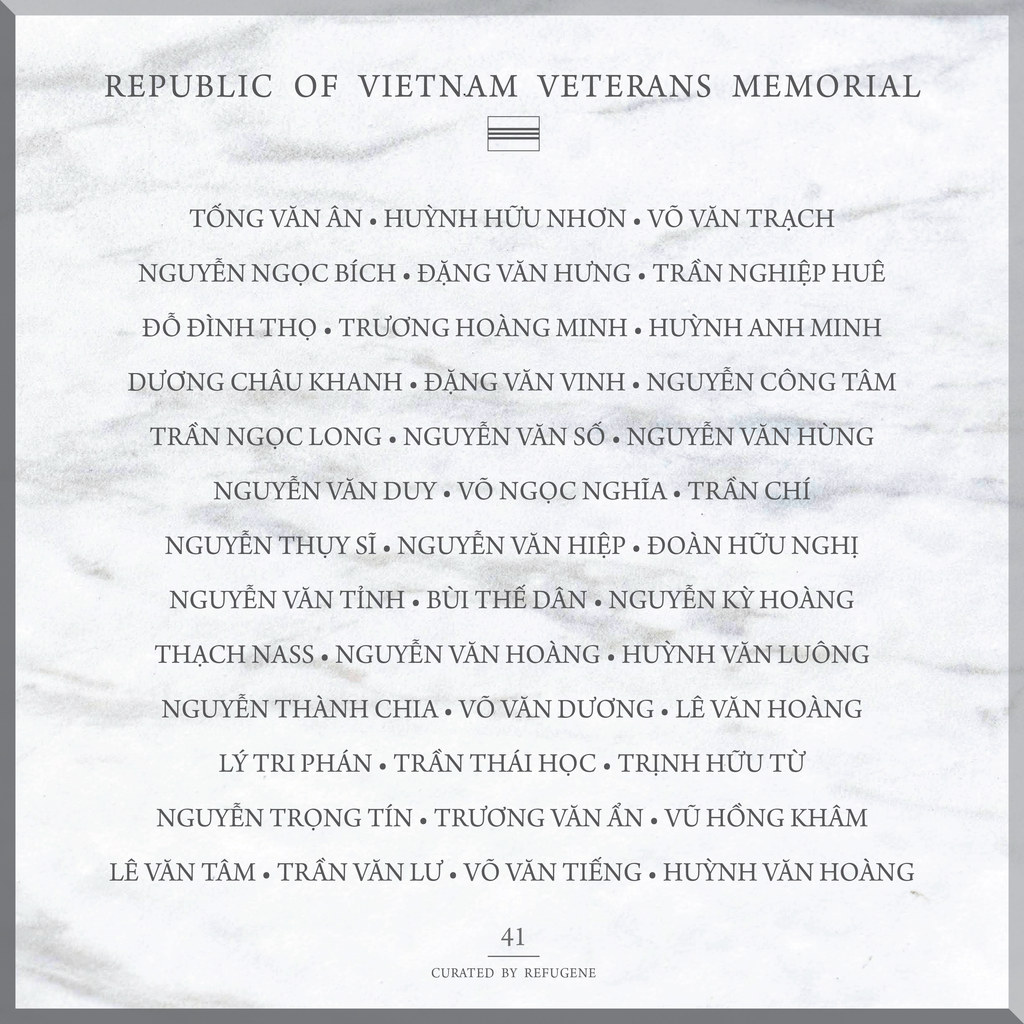 REPUBLIC OF VIETNAM VETERANS MEMORIAL :: PANEL 41