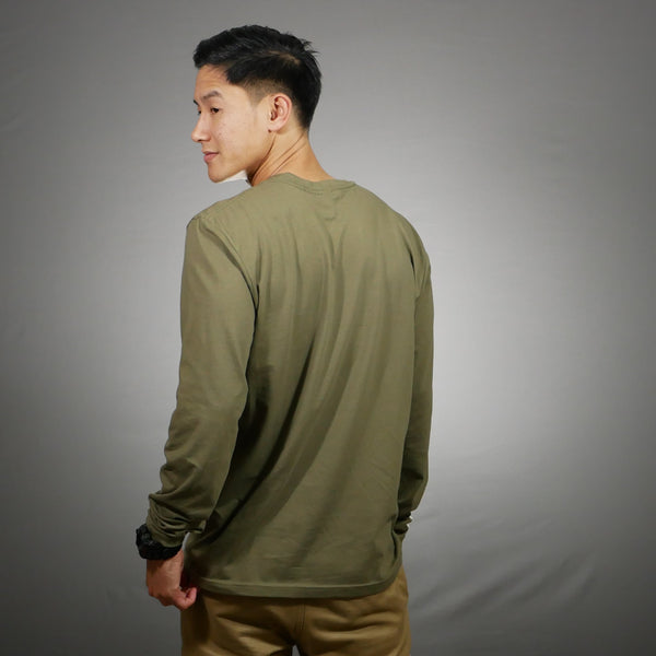 White Christmas Long Sleeve Shirt [Army Green]