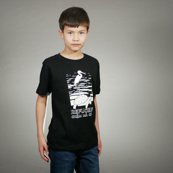 Youth Crane and Tortoise T-Shirt [Black]
