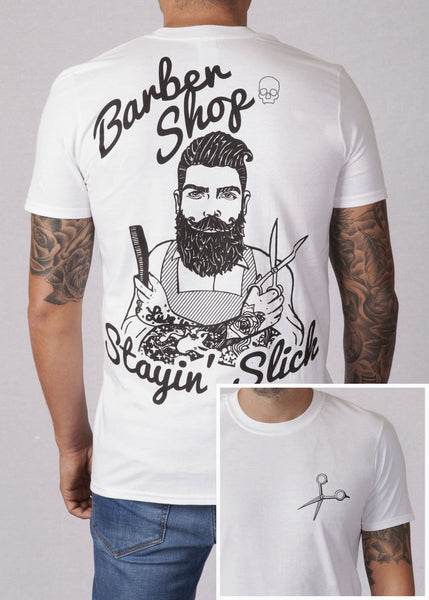 'Barber' T-shirt - White - Ink it out - Stayin' Slick