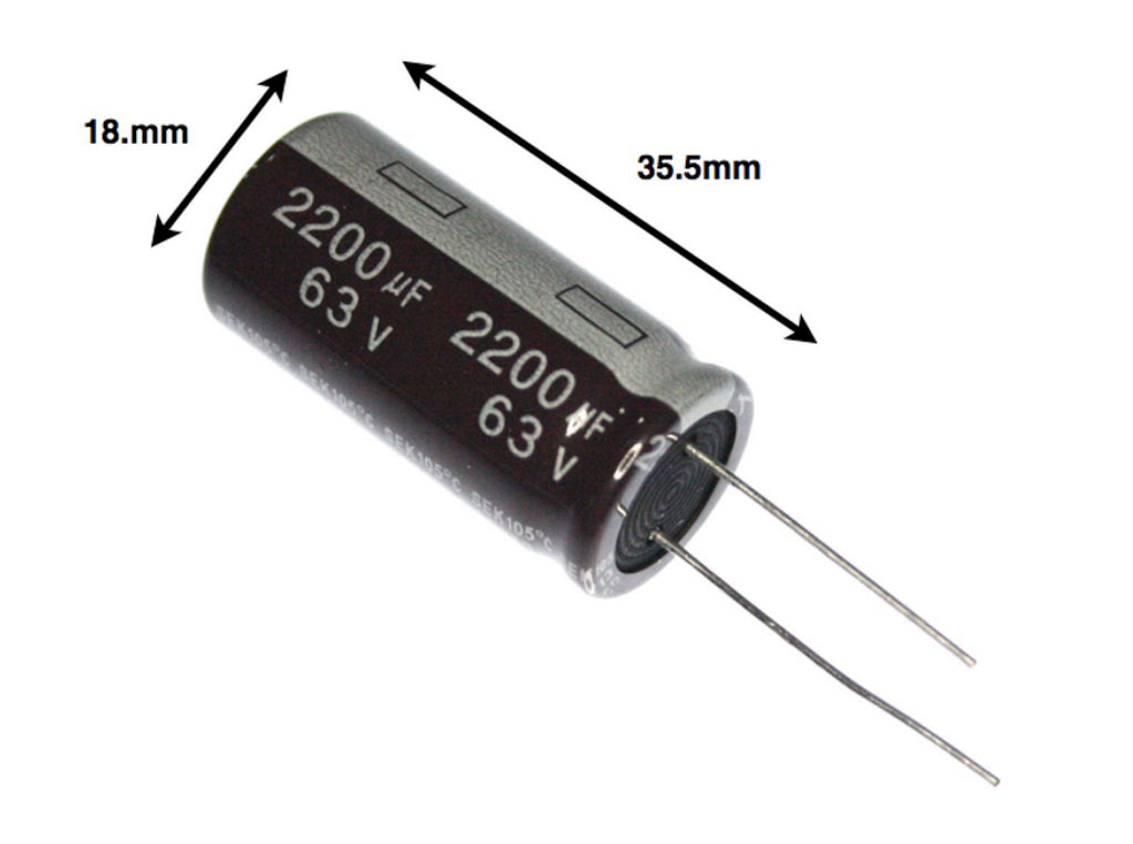 2x 2200UF 63V Radial-Electrolytic Capacitor 105ºC (18 x 35.5mm) - Spared Parts UK