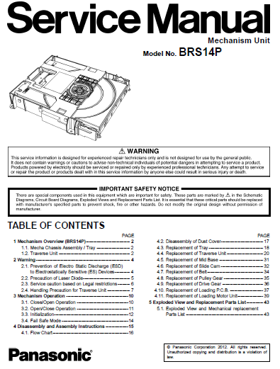 Panasonic BRS14P Service Manual Complete