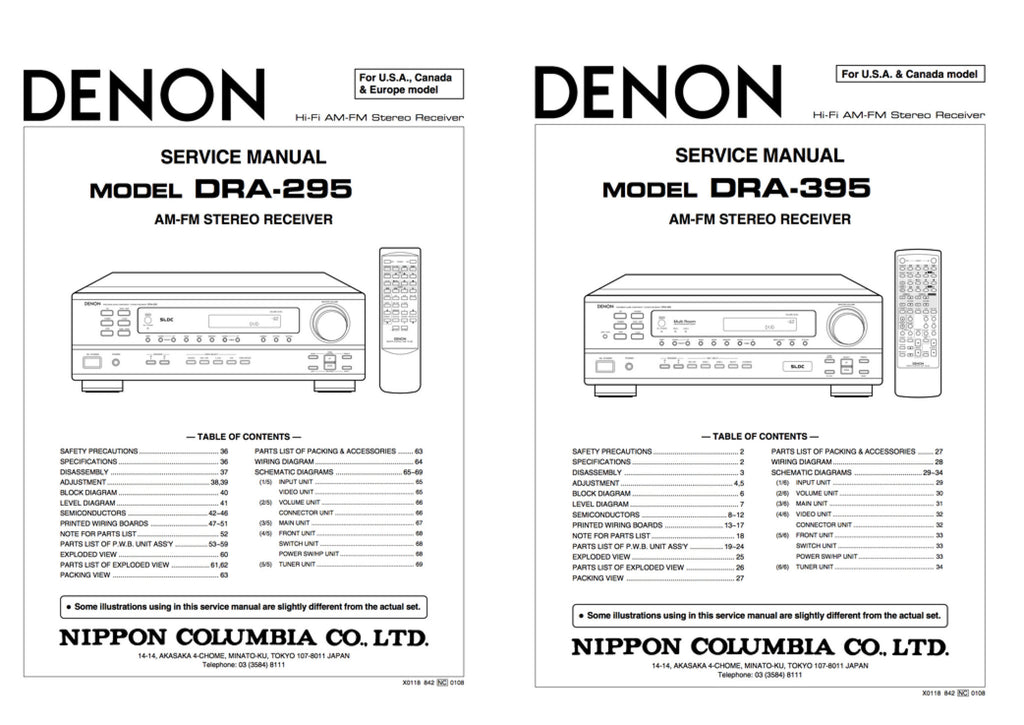 DENON DRA-295 DRA-395 Service Manual Complete - Spared Parts UK