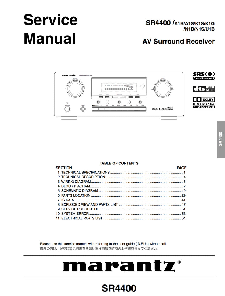 Marantz SR4400 Service Manual Complete - Spared Parts UK