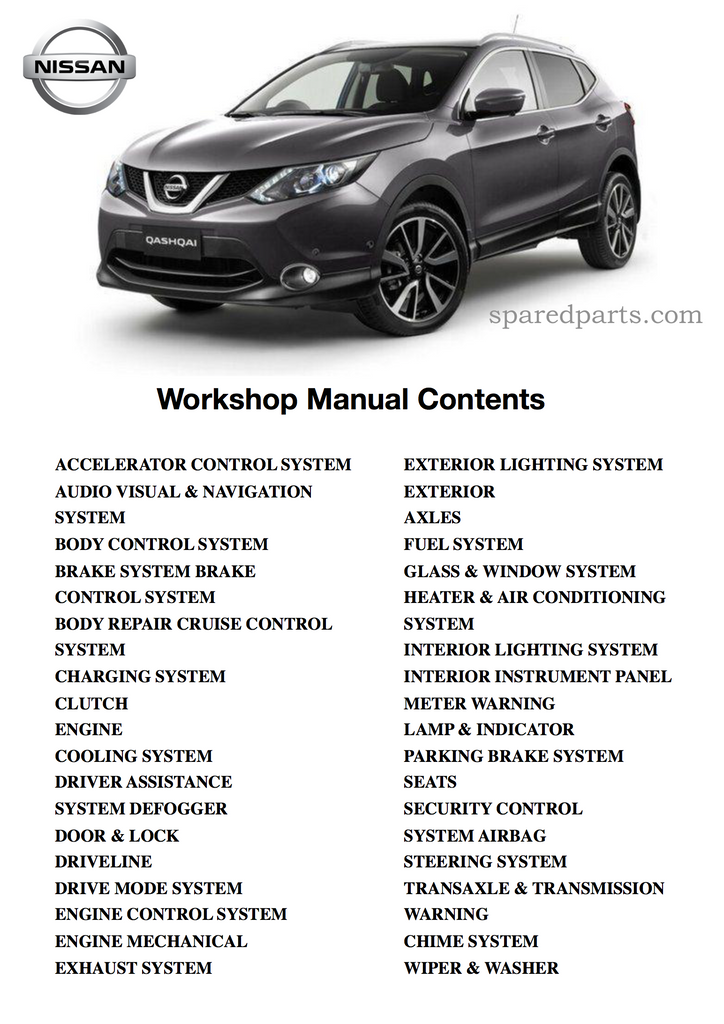 Nissan Qashqai J11 2013 - 2017 Workshop Manual £3.95