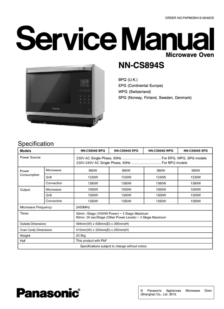 Panasonic NN-CS894S Service Manual