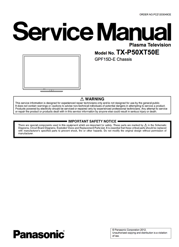 Panasonic TX-P50XT50E Service Manual