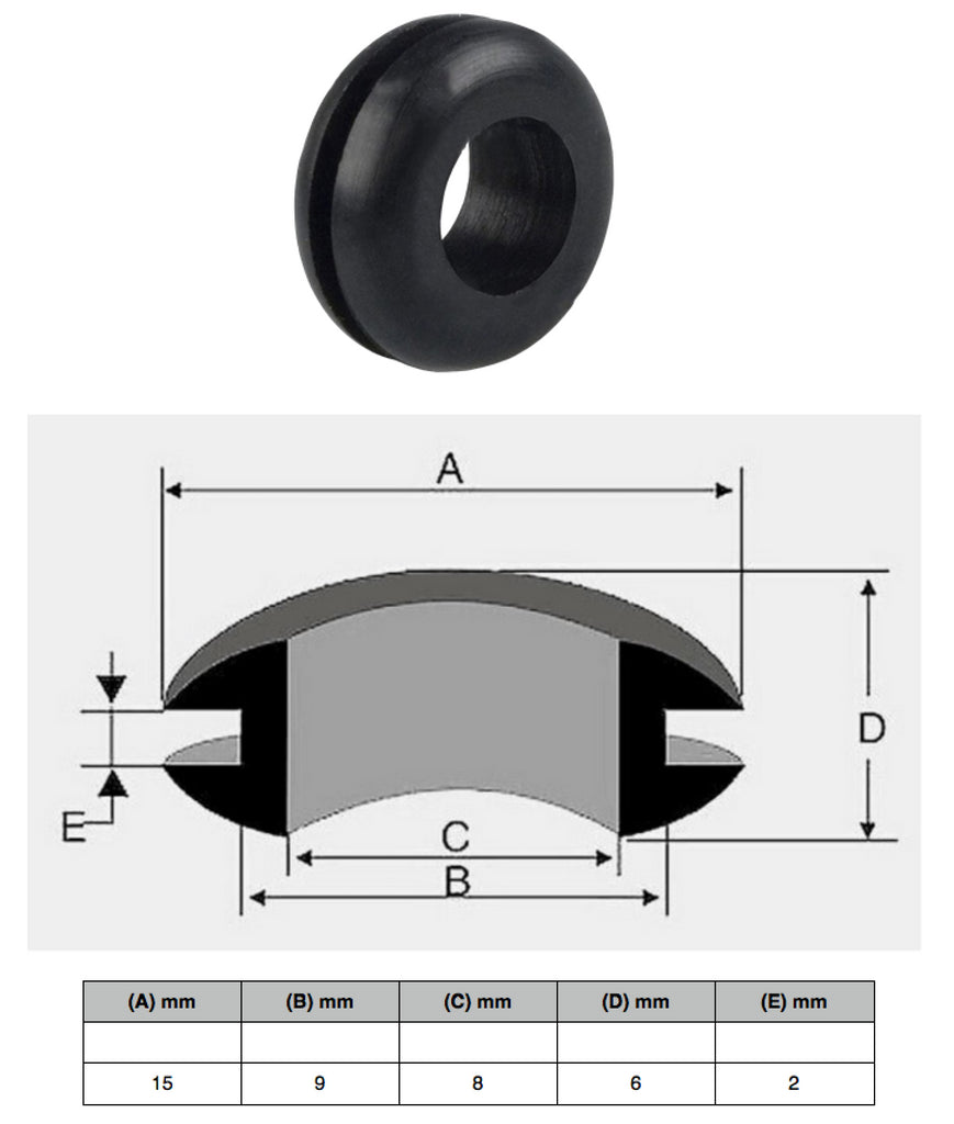 Black Rubber Grommet 8mm Inner Hole