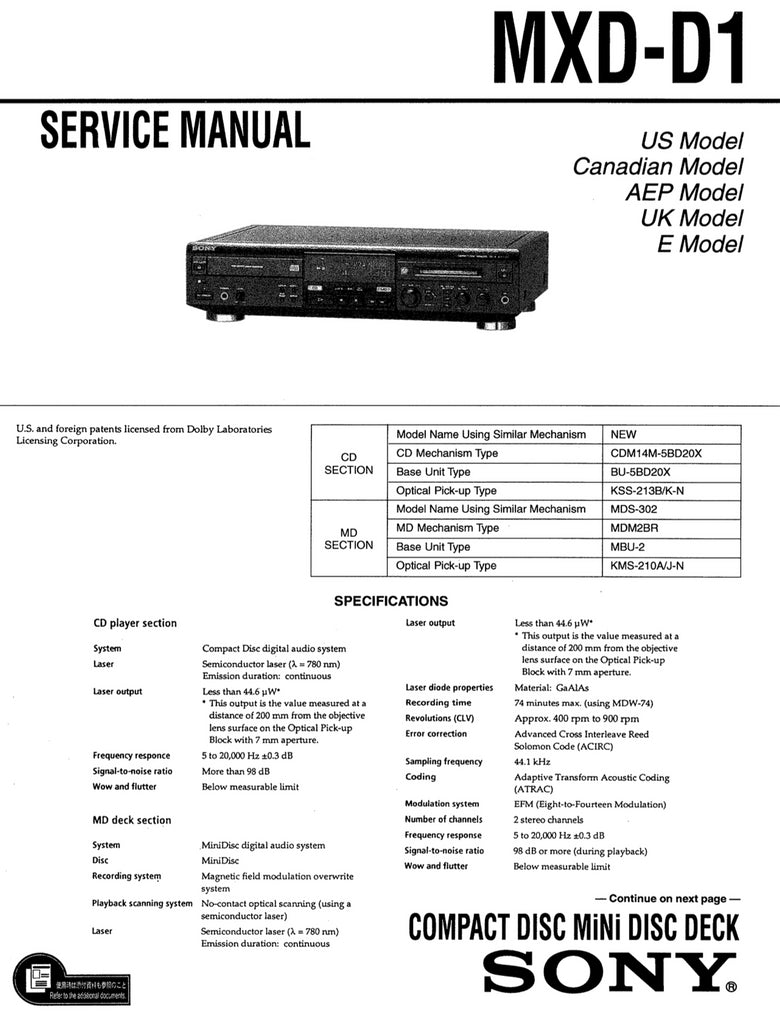 Sony MXD-D1 Service Manual