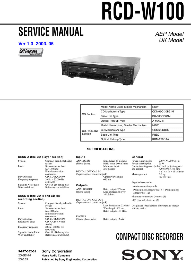 Sony RCD-W100 Service Manual