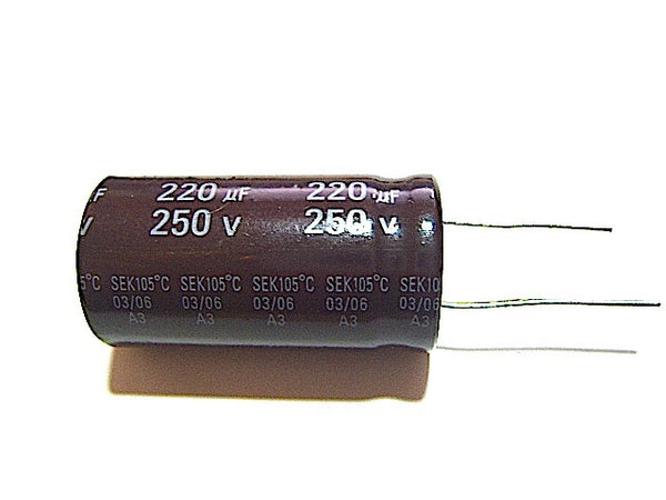 220UF 250V Radial-Electrolytic 105-Degree (22x40mm) - Spared Parts UK