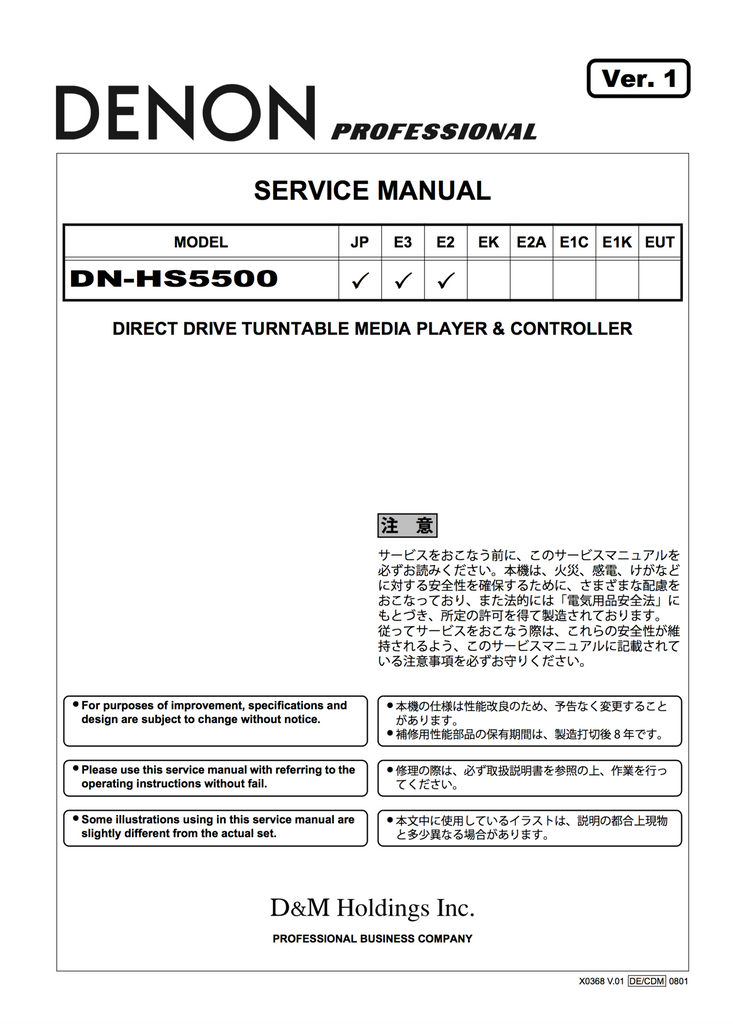Denon DN-HS5500 Service Manual Complete - Spared Parts UK