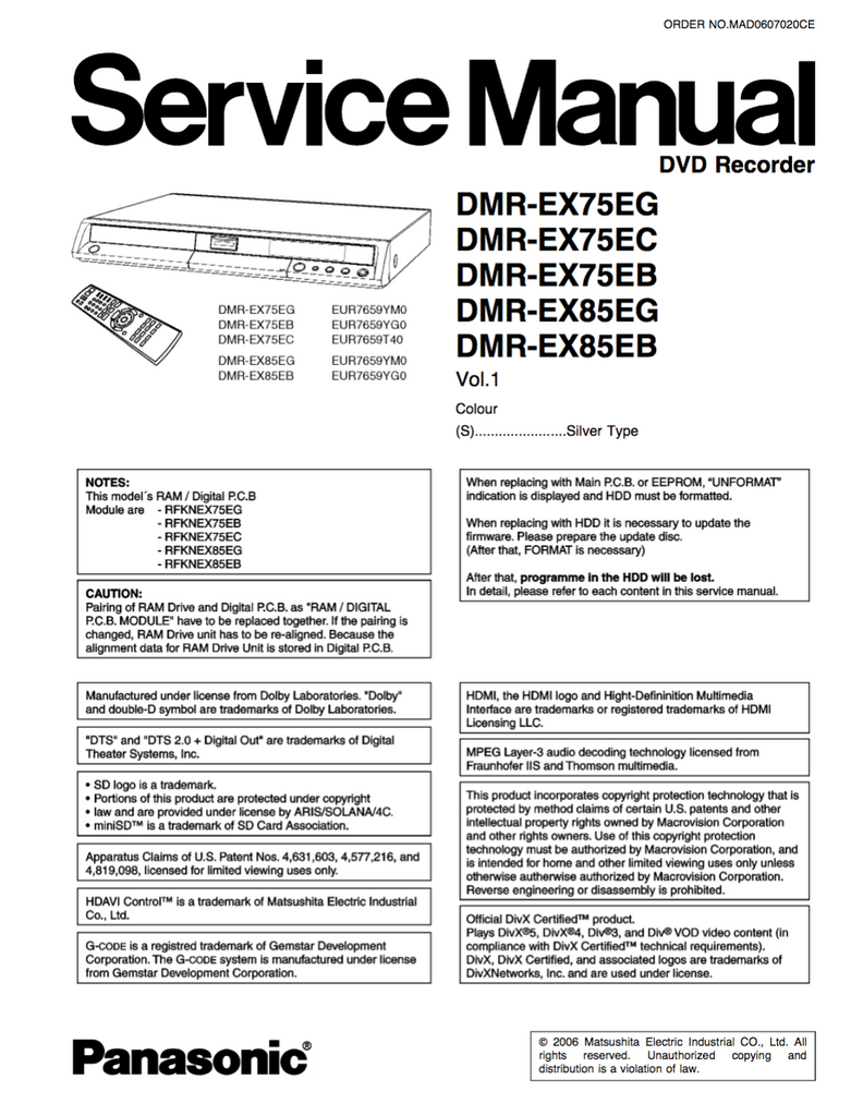 Panasonic DMR-EX75 DMR-EX85 Service Manual
